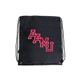 Black Drawstring Backpack-AAMU Stacked