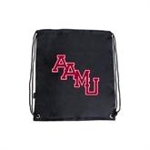 Black Drawstring Backpack-AAMU Stacked