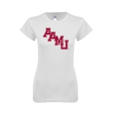 Next Level Ladies SoftStyle Junior Fitted White Tee-AAMU Stacked