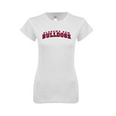 Next Level Ladies SoftStyle Junior Fitted White Tee-Alabama A&M Bulldog Arched