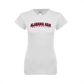 Next Level Ladies SoftStyle Junior Fitted White Tee-Alabama A&M University Arched