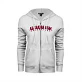 ENZA Ladies White Fleece Full Zip Hoodie-Alabama A&M University Arched