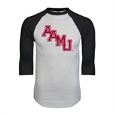 White/Black Raglan Baseball T-Shirt-AAMU Stacked