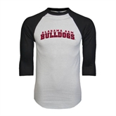 White/Black Raglan Baseball T-Shirt-Alabama A&M Bulldogs Arched