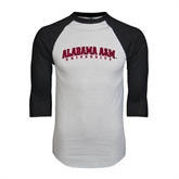 White/Black Raglan Baseball T-Shirt-Alabama A&M University Arched