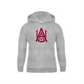 Youth Grey Fleece Hood-Official Logo