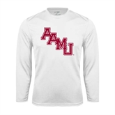 Syntrel Performance White Longsleeve Shirt-AAMU Stacked