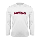 Performance White Longsleeve Shirt-Alabama A&M University Arched