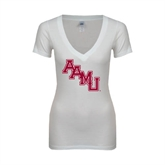 Next Level Ladies Junior Fit Deep V White Tee-AAMU Stacked