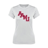 Ladies Syntrel Performance White Tee-AAMU Stacked