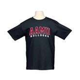 Youth Black T Shirt-AAMU Bulldogs Arched
