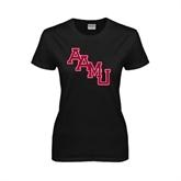 Ladies Black T Shirt-AAMU Stacked
