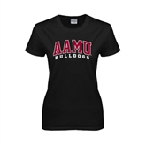 Ladies Black T Shirt-AAMU Bulldogs Arched