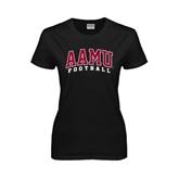 Ladies Black T Shirt-Football