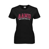 Ladies Black T Shirt-Baseball