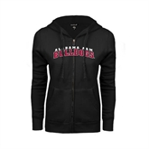 ENZA Ladies Black Fleece Full Zip Hoodie-Alabama A&M Bulldogs Arched