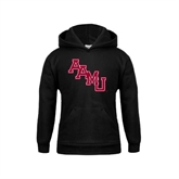 Youth Black Fleece Hoodie-AAMU Stacked
