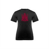 Youth Performance Black Tee-Official Logo