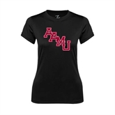 Ladies Syntrel Performance Black Tee-AAMU Stacked