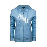 ENZA Ladies Light Blue Fleece Full Zip Hoodie-AAMU Stacked