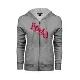Ladies Grey Fleece Full Zip Hoodie-AAMU Stacked