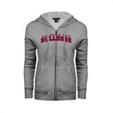 Ladies Grey Fleece Full Zip Hoodie-Alabama A&M Bulldog Arched