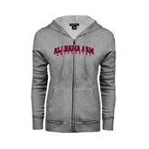 ENZA Ladies Grey Fleece Full Zip Hoodie-Alabama A&M University Arched