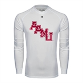 Under Armour White Long Sleeve Tech Tee-AAMU Stacked