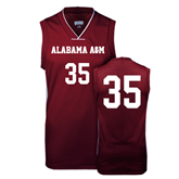 Replica Maroon Adult Basketball Jersey-#35