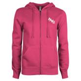 ENZA Ladies Fuchsia Fleece Full Zip Hoodie-AAMU Stacked