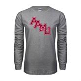 Grey Long Sleeve TShirt-AAMU Stacked