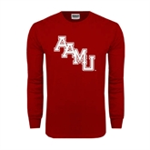 Cardinal Long Sleeve T Shirt-AAMU Stacked