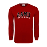 Cardinal Long Sleeve T Shirt-AAMU Bulldogs Arched