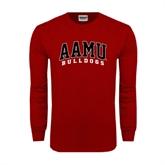 Cardinal Long Sleeve T Shirt-AAMU Bulldogs Arched