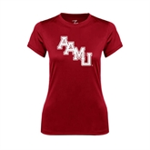 Ladies Syntrel Performance Cardinal Tee-AAMU Stacked