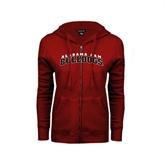 ENZA Ladies Cardinal Fleece Full Zip Hoodie-Alabama A&M Bulldogs Arched