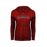ENZA Ladies Cardinal Fleece Full Zip Hoodie-Alabama A&M University Arched