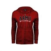 ENZA Ladies Cardinal Fleece Full Zip Hoodie-AAMU Bulldogs Arched