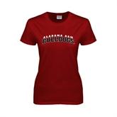 Ladies Cardinal T Shirt-Alabama A&M Bulldogs Arched