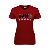 Ladies Cardinal T Shirt-AAMU Bulldogs Arched