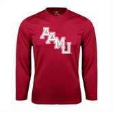 Performance Cardinal Longsleeve Shirt-AAMU Stacked