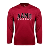 Performance Cardinal Longsleeve Shirt-AAMU Bulldogs Arched