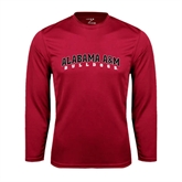 Performance Cardinal Longsleeve Shirt-Alabama A&M Bulldogs Arched