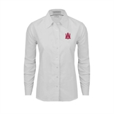Ladies White Oxford Shirt-Official Logo