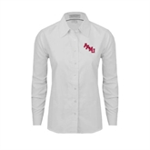 Ladies White Oxford Shirt-AAMU Stacked