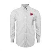 Mens White Oxford Long Sleeve Shirt-Bulldog