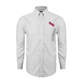 Mens White Oxford Long Sleeve Shirt-AAMU Stacked