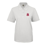 Ladies Easycare White Pique Polo-Official Logo