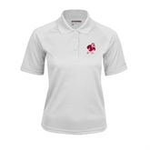 Ladies White Textured Saddle Shoulder Polo-Bulldog