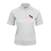 Ladies White Textured Saddle Shoulder Polo-AAMU Stacked